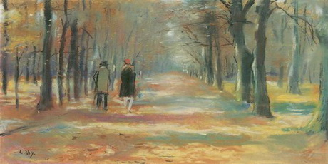 A(n) Lesser Ury paintings  Walking couple in the forest by Lesser Ury